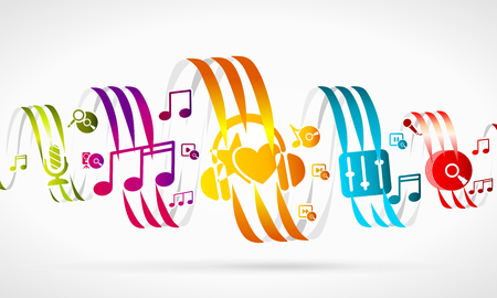 in tune: Music abstract illustration of Colorful ribbons and icons Illustration