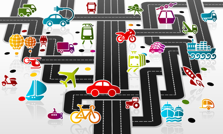 Complex transport infrastructure with Colorful transportation icon set Vector