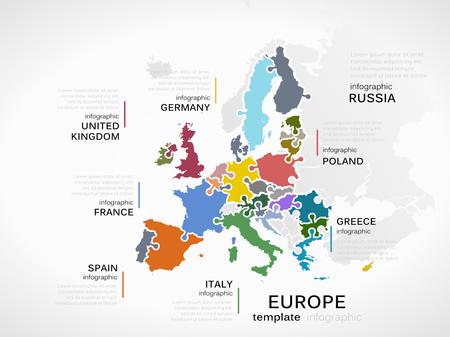 Europa mapa conceptual plantilla infografía con los países hecha de piezas de un rompecabezas Foto de archivo - 32572521