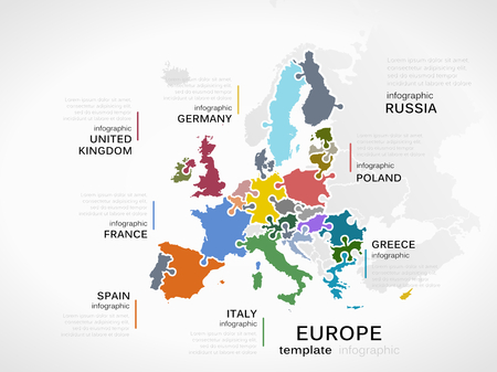 Europe map concept infographic template with countries made out of puzzle pieces