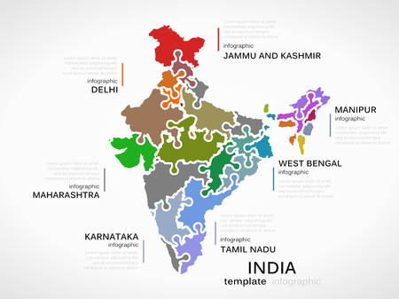 state: Indian map concept infographic template with states made out of puzzle pieces