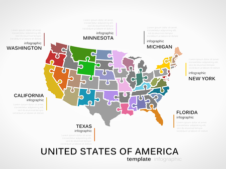 United states of america map concept infographic template with states made out of puzzle pieces