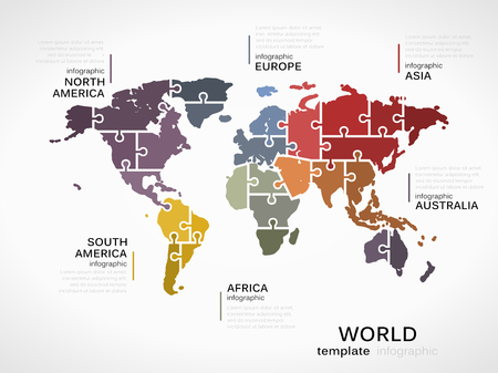 World map concept infographic template with map made out of puzzle pieces