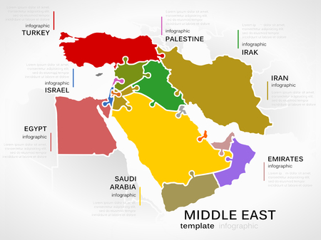 Middle east map concept infographic template with countries made out of puzzle pieces Vector