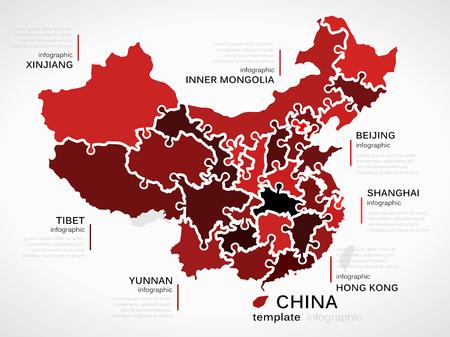 mapa china: Mapa del concepto de China plantilla infografía con las provincias hecha de piezas de un rompecabezas