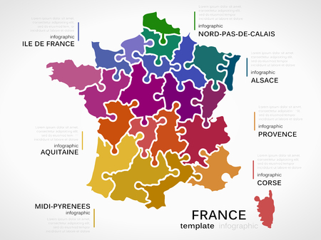 departments: Map of France concept infographic template with regions made out of puzzle pieces Illustration