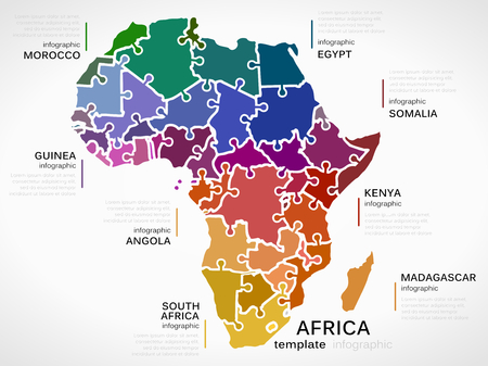 Map of Africa concept infographic template with countries made out of puzzle pieces Vector