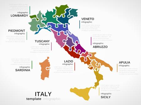 Mapa de Italia concepto plantilla infografía con las regiones hecha de piezas de un rompecabezas Foto de archivo - 32708299
