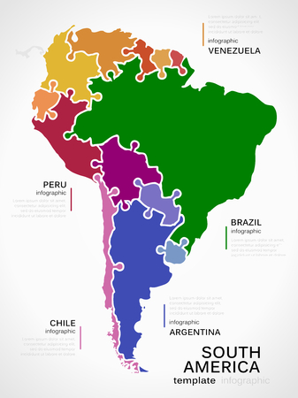 Map of South America concept infographic template with countries made out of puzzle pieces