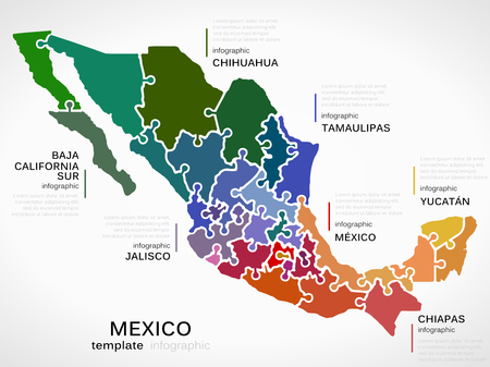 mexico map: Map of Mexico concept infographic template with states made out of puzzle pieces