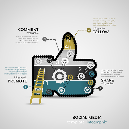 Social Media infographic template with geared like Vettoriali