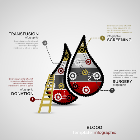 blood transfusion: Blood donation concept infographic template with geared drops