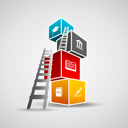 concept: Education concept illustration. Ladder climbing colorful boxes