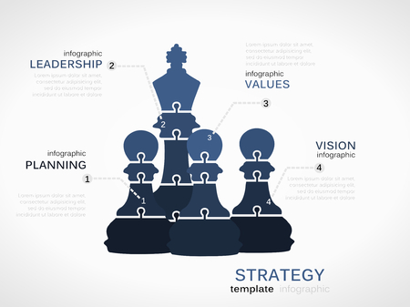 ceo: Leadership strategy concept. Infographic template with chess pieces