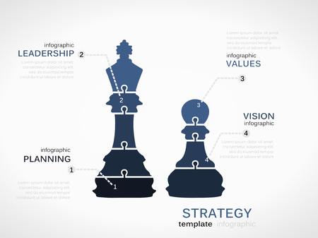 Accession strategy concept. Infographic template with chess pieces Vector