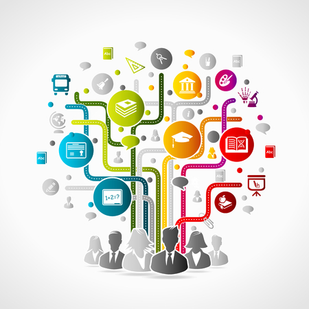 flipchart: Education concept illustration. Colorful internet icons