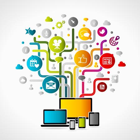 Internet concept illustration. Colorful gadget icons