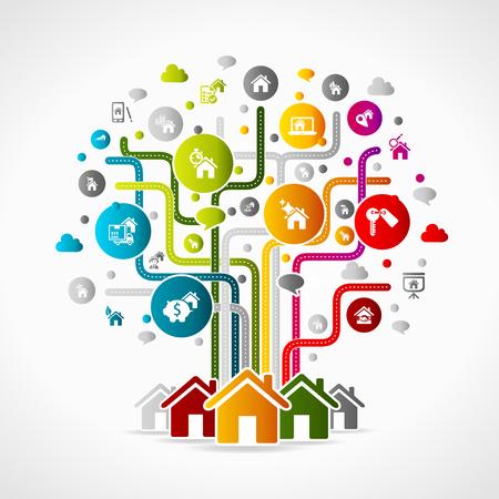 ?real estate?: Ilustraci�n del concepto de las propiedades inmobiliarias. Iconos de colores