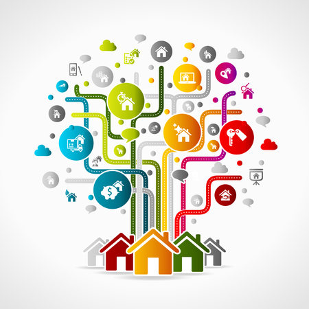 Real estate concept illustration. Colorful icons