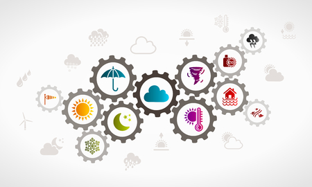 synergy: Weather icon set . Atmospheric conditions concept illustration Illustration