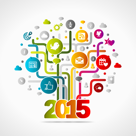 social media concept: 2015 social media concept. Colorful internet icons Illustration