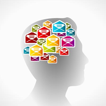 illustrazione uomo: Mail di spam illustrazione vettoriale. Sagoma dell'uomo con messaggi non richiesti
