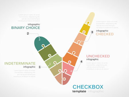unchecked: Checkbox symbol infographic template with puzzled jigsaw sign