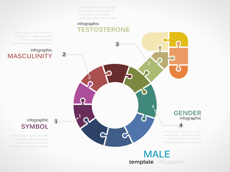 Male symbol infographic template with puzzled jigsaw sign