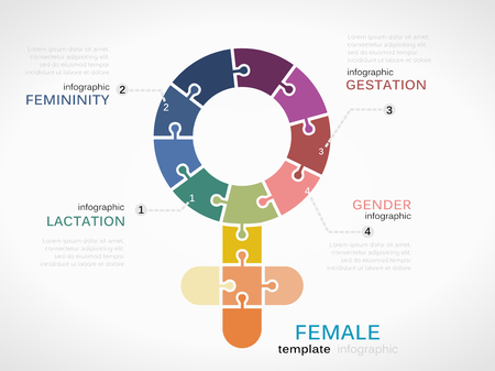 gestation: Female symbol infographic template with puzzled jigsaw sign