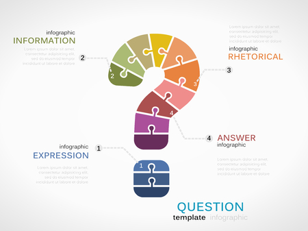 Question mark infographic template with puzzled jigsaw symbol