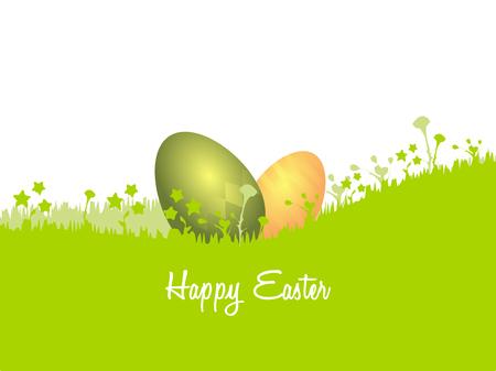uova d oro: Cartolina Illustrazione di Pasqua. Uova verdi e dorate nascosto nell'erba Vettoriali