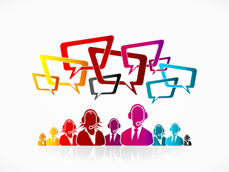 service desk: Customer service illustration concept. Help desk staff and speech bubble Illustration