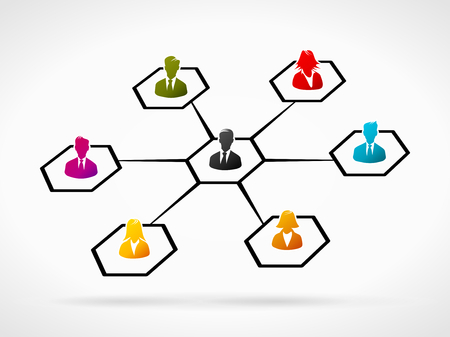 connect people: Abstract illustration of colorful business people group
