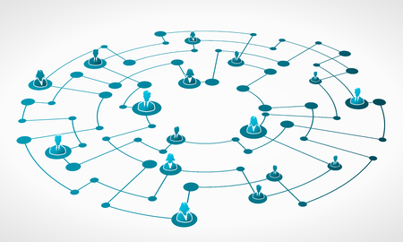 Abstract illustration of blue business network grid