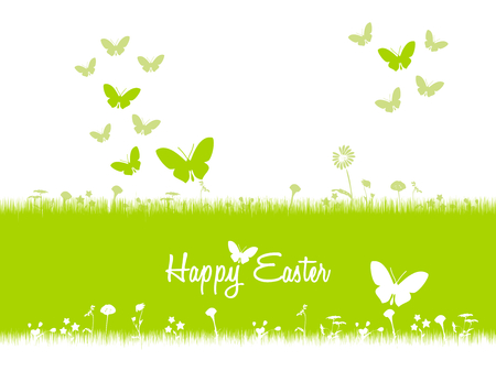 Happy Easter card illustration . Spring butterflies and green grass