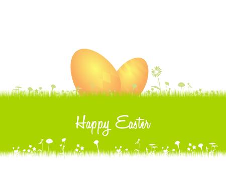 uova d oro: Cartolina Illustrazione di Pasqua. Uova d'oro nascoste nell'erba Vettoriali