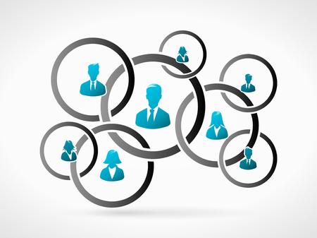 QUipe d'organisation d'affaires. Personnes humaines icône silhouette Banque d'images - 35891675