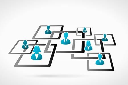 Business organization diagram. Human people icon silhouette