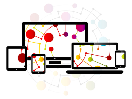 web site: Abstract illustration with internet responsive web design