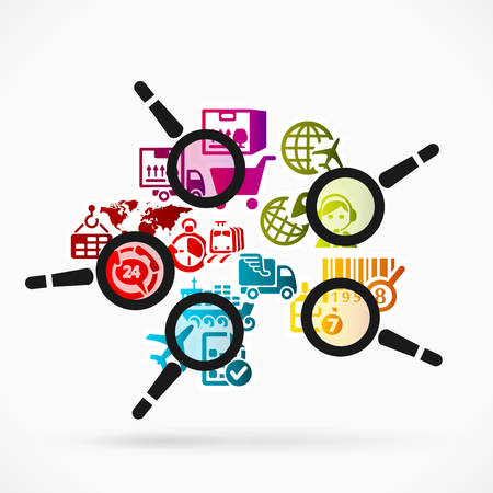 shipment tracking: Abstract illustration of delivery tracking. Colorful logistics icons and magnifier glass