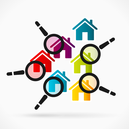 inspection: Abstract illustration of home surveillance. Colorful house icons and magnifier glass Illustration