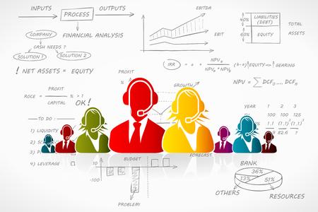 apalancamiento: Ilustración vectorial de contabilidad de impuestos sobre la mano escrita fondo de la contabilidad