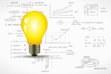 apalancamiento: Ilustración vectorial idea Financiera sobre escrito a mano fondo de la contabilidad