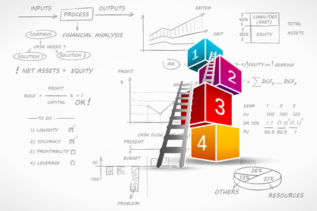 contabilidad: Infograf�a financieros ilustraci�n vectorial sobre escrito a mano fondo de la contabilidad