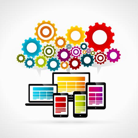synergie: Internet Synergie abstrakte Vektor-Illustration. Bunte Zahnr�der und Symbole