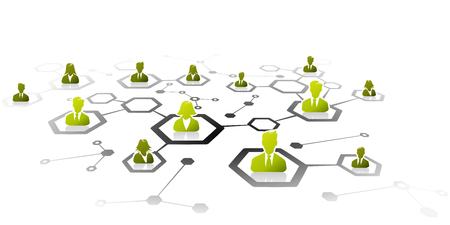 professional relationship: Abstract illustration of professional business network grid