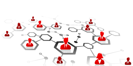 Abstract illustration of professional business network grid