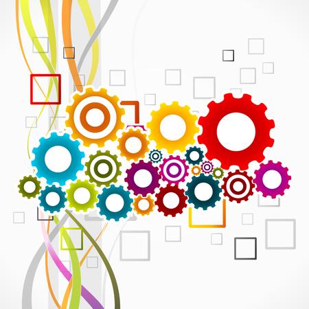 sinergia: Ilustración vectorial colorido abstracto del concepto de sinergia