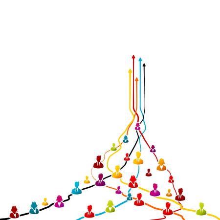 Coesione aziendale, concetto di unità con icone colorate di avatar su linee aggrovigliate con frecce rivolte verso l'alto Archivio Fotografico - 83082899