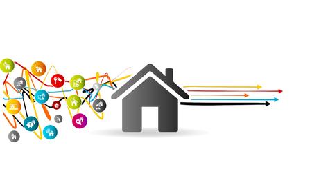 속성 문제를 해결, 오른쪽 가리키는 화살표와 함께 얽힌 된 라인 위에 다채로운 아바타 집 아이콘 하우스 시장 분석 개념